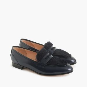 NWT Jcrew Navy Blue Academy Loafer with Fur